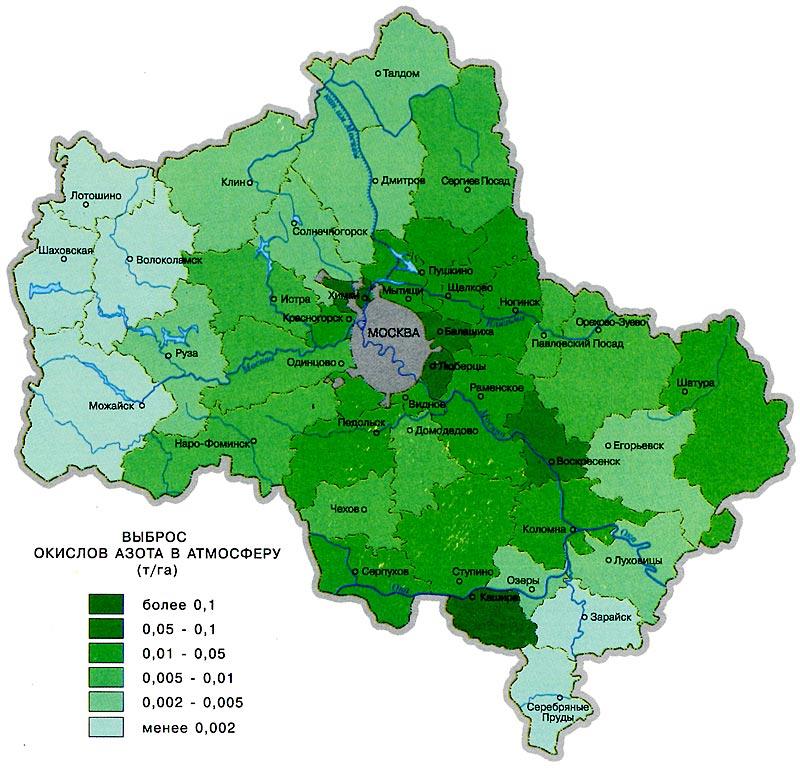 Карта загрязнения воздуха окисями азота в Москве и Подмосковье